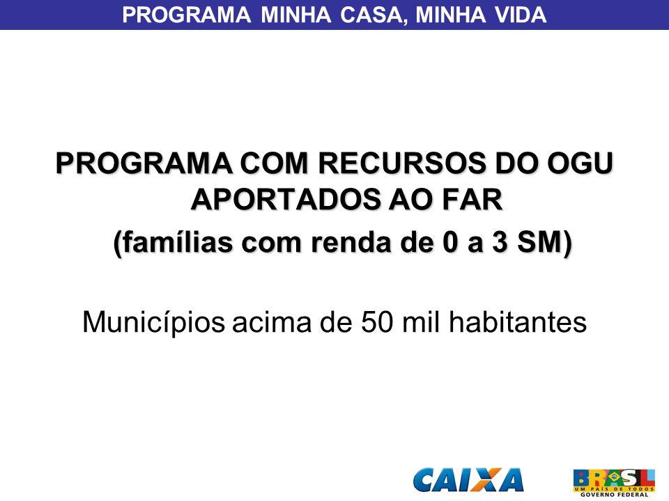 PROGRAMA MINHA CASA, MINHA VIDA PROGRAMA COM RECURSOS DO OGU APORTADOS AO FAR (famílias com renda de 0 a 3 SM) (famílias com renda de 0 a 3 SM) Municí