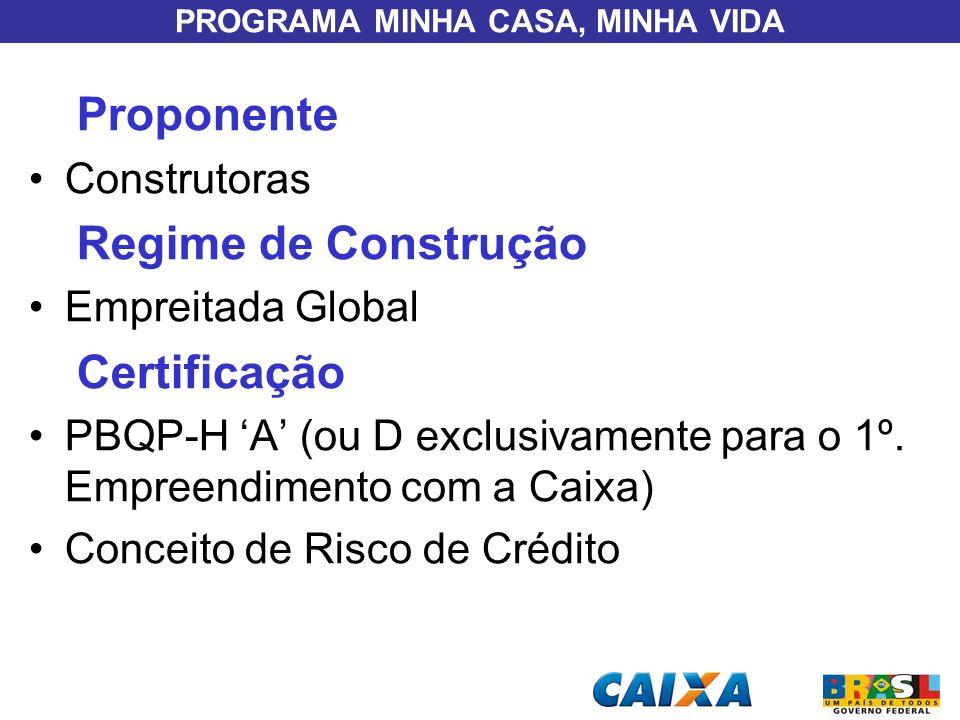 PROGRAMA MINHA CASA, MINHA VIDA Proponente Construtoras Regime de Construção Empreitada Global Certificação PBQP-H A (ou D exclusivamente para o 1º. E