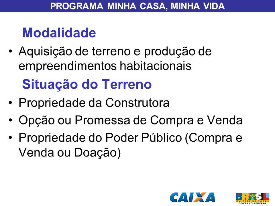 PROGRAMA MINHA CASA, MINHA VIDA Modalidade Aquisição de terreno e produção de empreendimentos habitacionais Situação do Terreno Propriedade da Constru