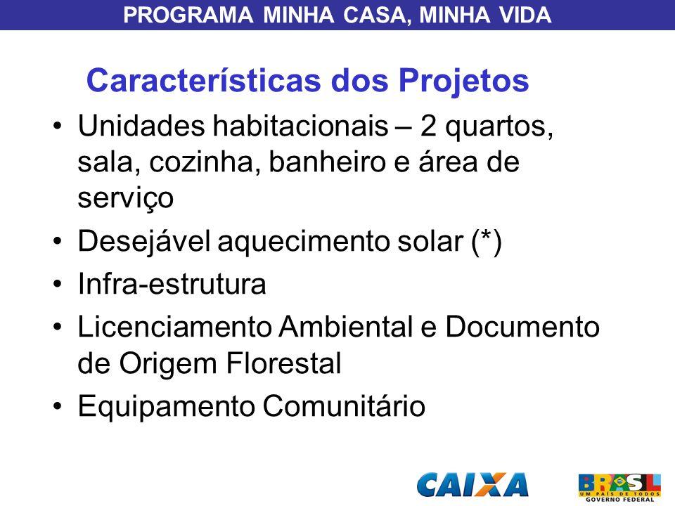 PROGRAMA MINHA CASA, MINHA VIDA Características dos Projetos Unidades habitacionais – 2 quartos, sala, cozinha, banheiro e área de serviço Desejável a