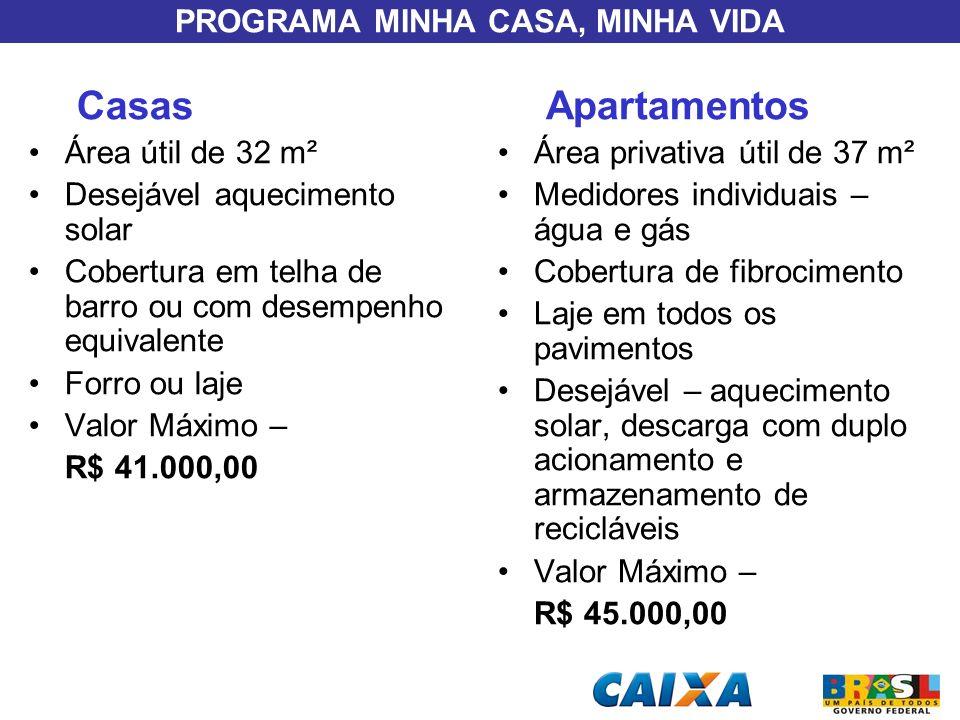 PROGRAMA MINHA CASA, MINHA VIDA Casas Área útil de 32 m² Desejável aquecimento solar Cobertura em telha de barro ou com desempenho equivalente Forro o