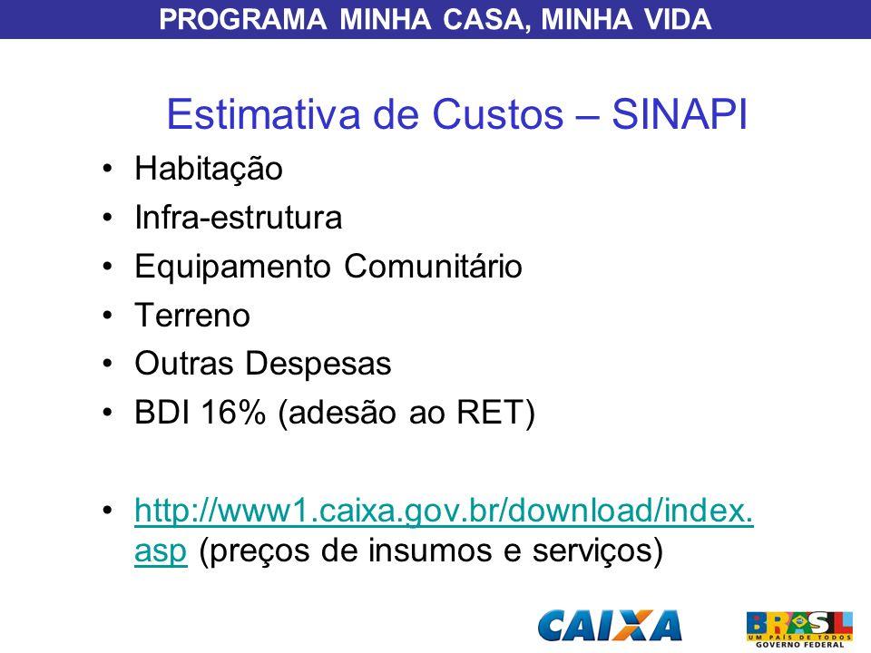 PROGRAMA MINHA CASA, MINHA VIDA Estimativa de Custos – SINAPI Habitação Infra-estrutura Equipamento Comunitário Terreno Outras Despesas BDI 16% (adesã