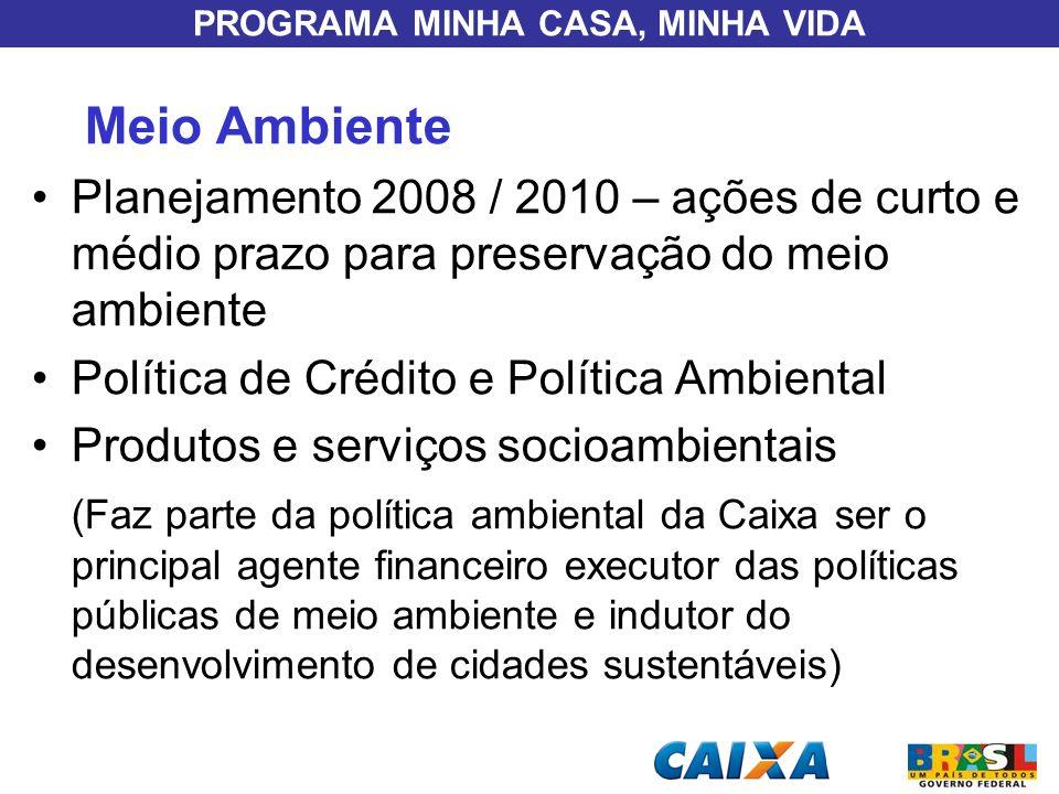 PROGRAMA MINHA CASA, MINHA VIDA Meio Ambiente Planejamento 2008 / 2010 – ações de curto e médio prazo para preservação do meio ambiente Política de Cr