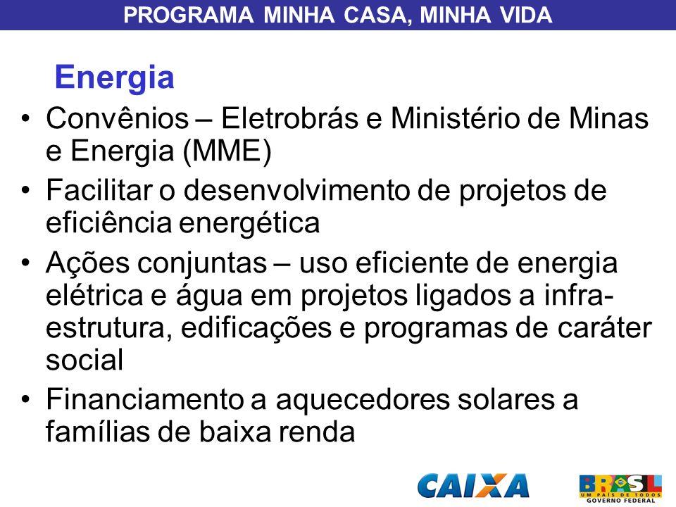 PROGRAMA MINHA CASA, MINHA VIDA Energia Convênios – Eletrobrás e Ministério de Minas e Energia (MME) Facilitar o desenvolvimento de projetos de eficiê