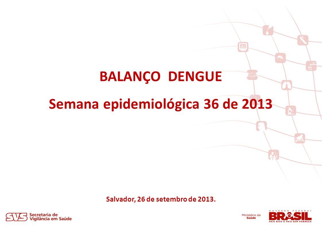 BALANÇO DENGUE Semana epidemiológica 36 de 2013 Salvador, 26 de setembro de 2013.