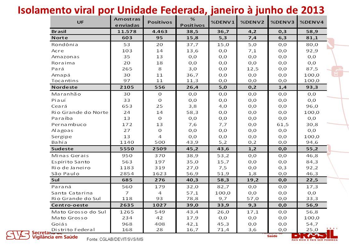 Isolamento viral por Unidade Federada, janeiro à junho de 2013 Fonte: CGLAB/DEVIT/SVS/MS