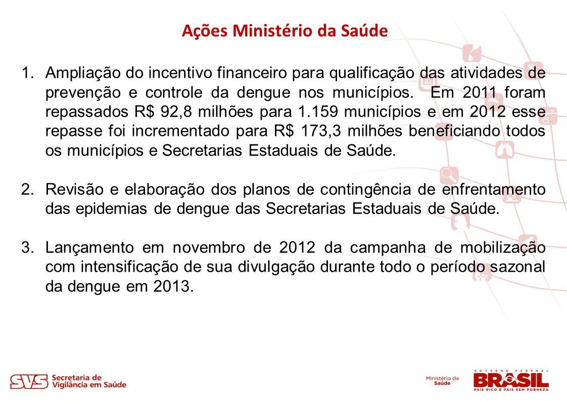 1.Ampliação do incentivo financeiro para qualificação das atividades de prevenção e controle da dengue nos municípios. Em 2011 foram repassados R$ 92,