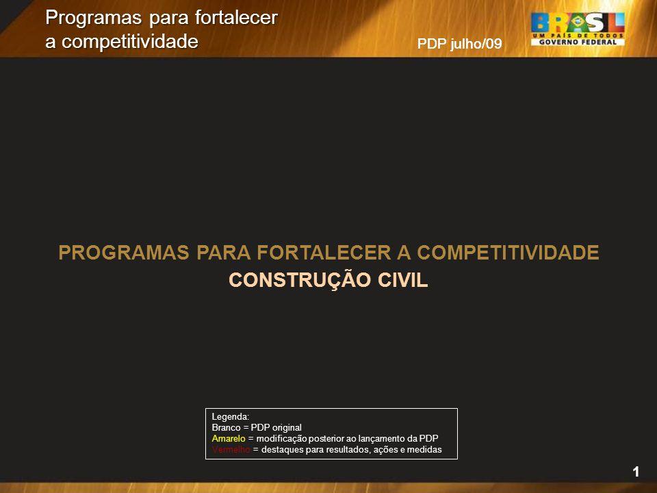 PDP julho/09 Programas para fortalecer a competitividade PROGRAMAS PARA FORTALECER A COMPETITIVIDADE CONSTRUÇÃO CIVIL Legenda: Branco = PDP original A