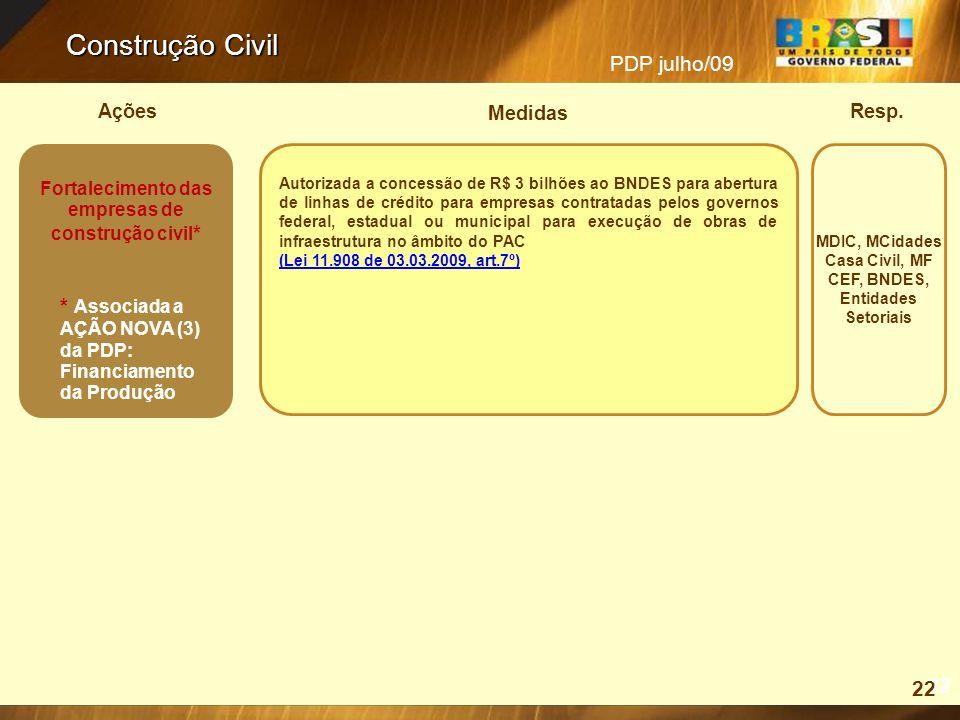 PDP julho/09 Resp.Ações Medidas Construção Civil 22 MDIC, MCidades Casa Civil, MF CEF, BNDES, Entidades Setoriais Autorizada a concessão de R$ 3 bilhõ