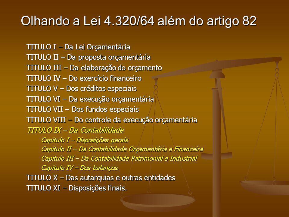 Olhando a Lei 4.320/64 além do artigo 82 TITULO I – Da Lei Orçamentária TITULO II – Da proposta orçamentária TITULO III – Da elaboração do orçamento T