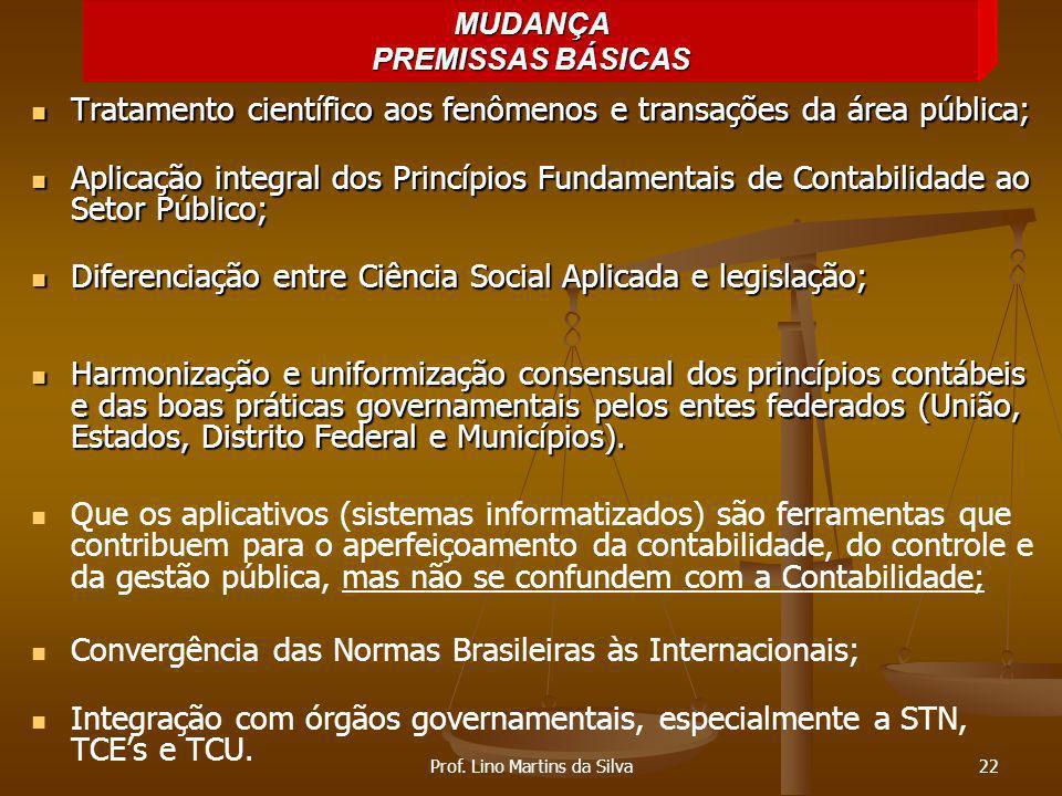 Tratamento científico aos fenômenos e transações da área pública; Tratamento científico aos fenômenos e transações da área pública; Aplicação integral
