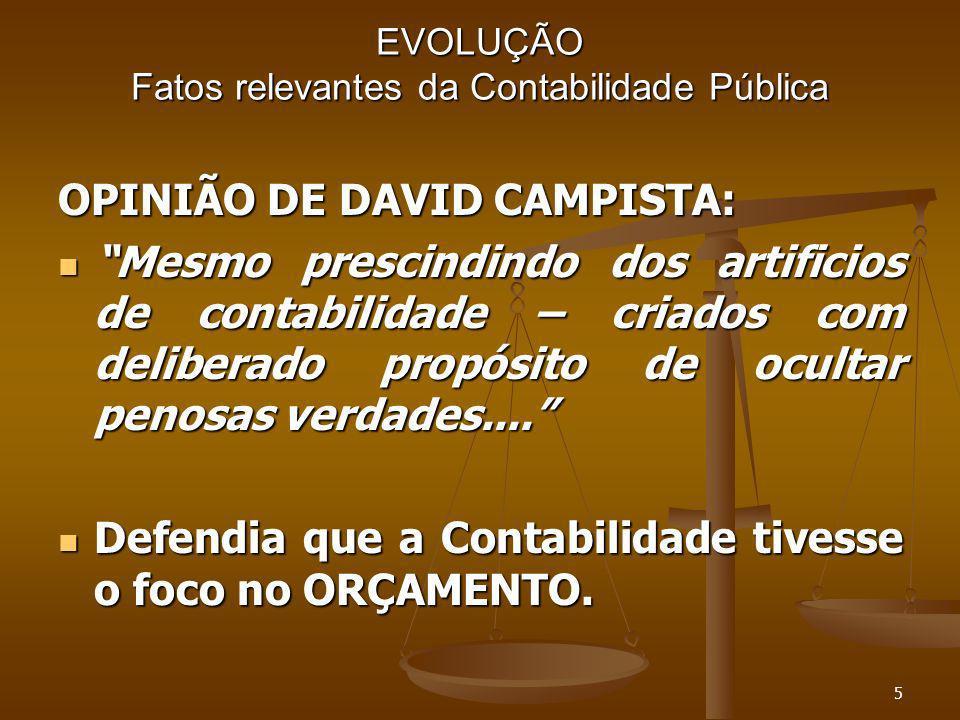 5 EVOLUÇÃO Fatos relevantes da Contabilidade Pública OPINIÃO DE DAVID CAMPISTA: Mesmo prescindindo dos artificios de contabilidade – criados com delib