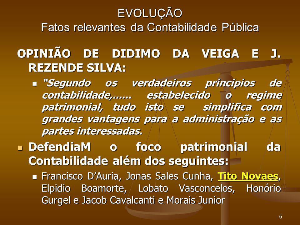 MUDANÇA FOCO NO PATRIMÔNIO FOCO DA CONTABILIDADE – Lei 4.320/64 FOCO DA CONTABILIDADE – Lei 4.320/64 Princípio da evidenciação (Art.