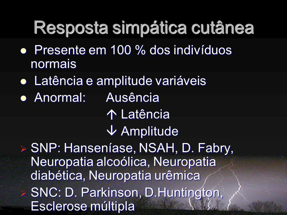 Presente em 100 % dos indivíduos normais Presente em 100 % dos indivíduos normais Latência e amplitude variáveis Latência e amplitude variáveis Anormal: Ausência Anormal: Ausência Latência Latência Amplitude Amplitude SNP: Hanseníase, NSAH, D.