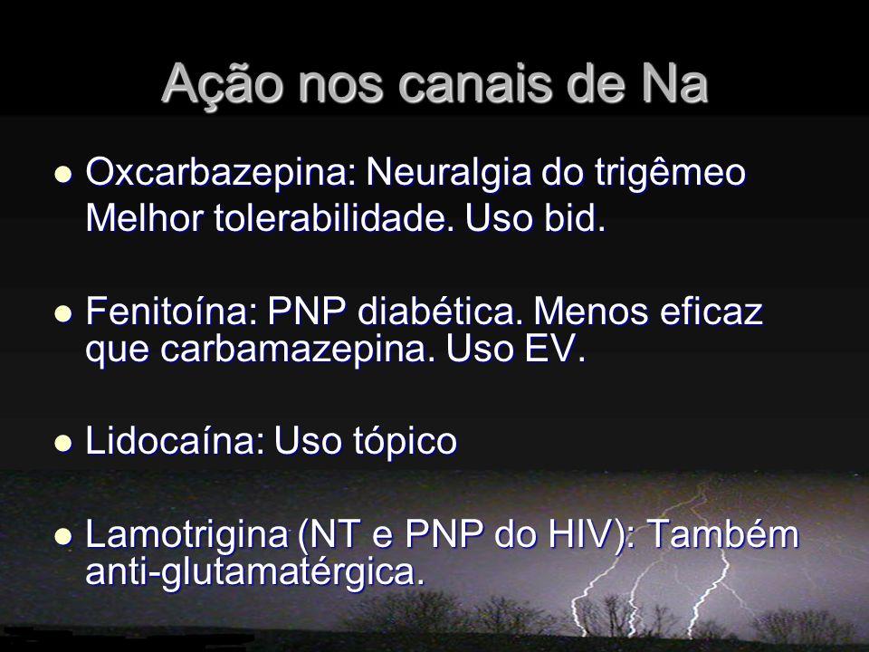 Ação nos canais de Na Oxcarbazepina: Neuralgia do trigêmeo Oxcarbazepina: Neuralgia do trigêmeo Melhor tolerabilidade. Uso bid. Fenitoína: PNP diabéti