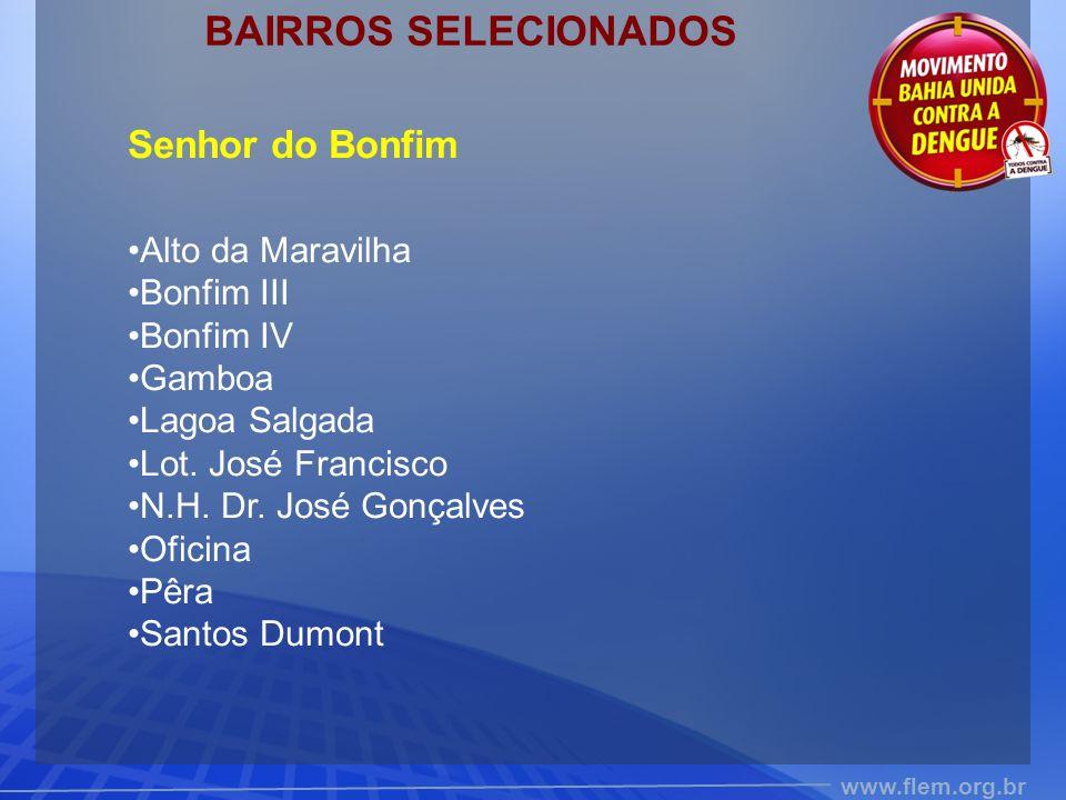 www.flem.org.br BAIRROS SELECIONADOS Senhor do Bonfim Alto da Maravilha Bonfim III Bonfim IV Gamboa Lagoa Salgada Lot. José Francisco N.H. Dr. José Go