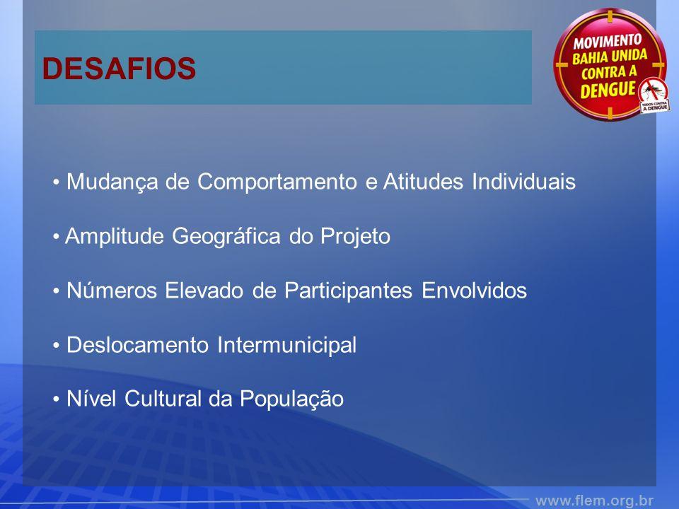 www.flem.org.br DESAFIOS Mudança de Comportamento e Atitudes Individuais Amplitude Geográfica do Projeto Números Elevado de Participantes Envolvidos Deslocamento Intermunicipal Nível Cultural da População