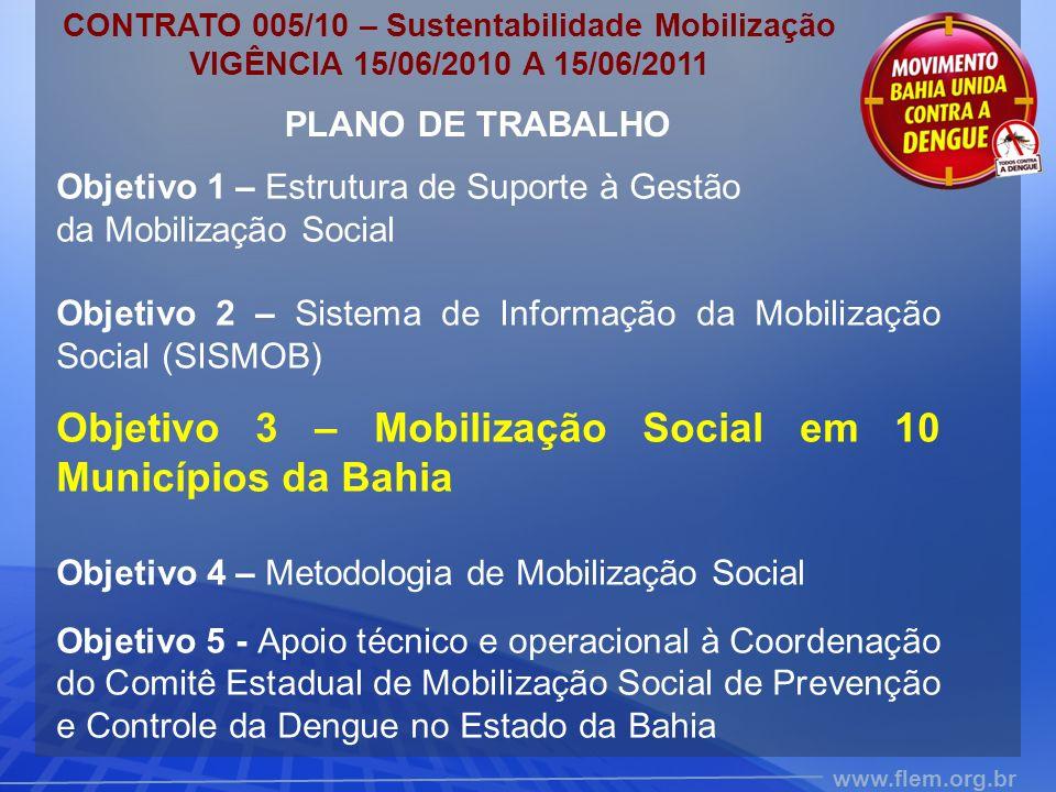 www.flem.org.br PLANO DE TRABALHO Objetivo 1 – Estrutura de Suporte à Gestão da Mobilização Social Objetivo 2 – Sistema de Informação da Mobilização S
