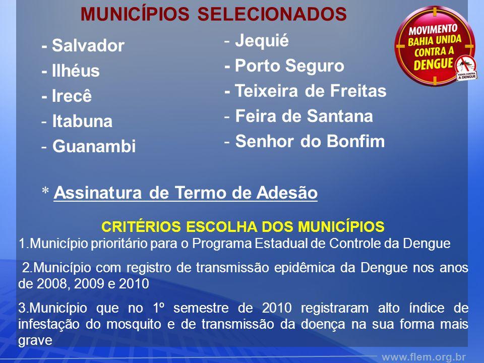 www.flem.org.br MUNICÍPIOS SELECIONADOS - Salvador - Ilhéus - Irecê - Itabuna - Guanambi * Assinatura de Termo de Adesão CRITÉRIOS ESCOLHA DOS MUNICÍPIOS 1.Município prioritário para o Programa Estadual de Controle da Dengue 2.Município com registro de transmissão epidêmica da Dengue nos anos de 2008, 2009 e 2010 3.Município que no 1º semestre de 2010 registraram alto índice de infestação do mosquito e de transmissão da doença na sua forma mais grave - Jequié - Porto Seguro - Teixeira de Freitas - Feira de Santana - Senhor do Bonfim