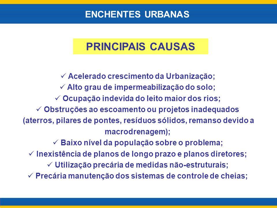 Acelerado crescimento da Urbanização; Alto grau de impermeabilização do solo; Ocupação indevida do leito maior dos rios; Obstruções ao escoamento ou p