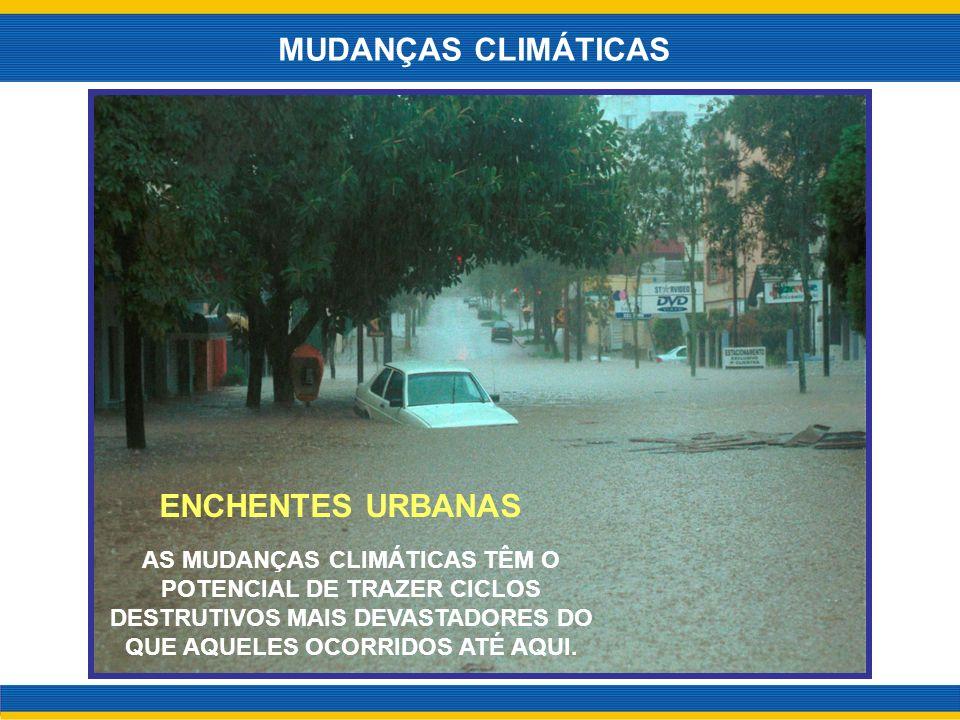 AS MUDANÇAS CLIMÁTICAS TÊM O POTENCIAL DE TRAZER CICLOS DESTRUTIVOS MAIS DEVASTADORES DO QUE AQUELES OCORRIDOS ATÉ AQUI. MUDANÇAS CLIMÁTICAS ENCHENTES
