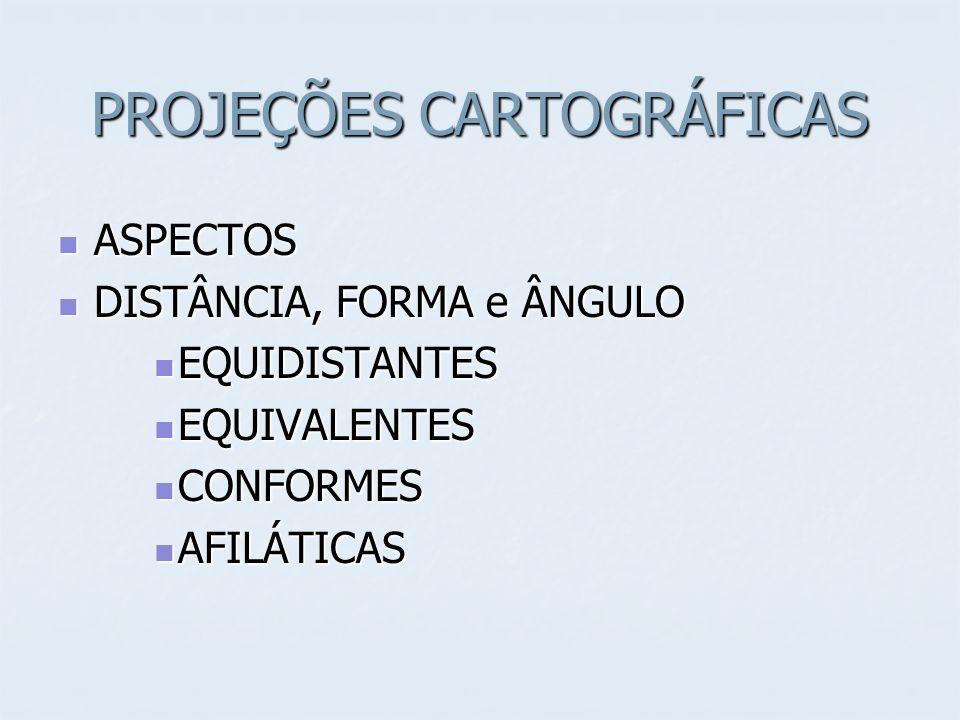 PROJEÇÕES CARTOGRÁFICAS ASPECTOS ASPECTOS DISTÂNCIA, FORMA e ÂNGULO DISTÂNCIA, FORMA e ÂNGULO EQUIDISTANTES EQUIDISTANTES EQUIVALENTES EQUIVALENTES CONFORMES CONFORMES AFILÁTICAS AFILÁTICAS