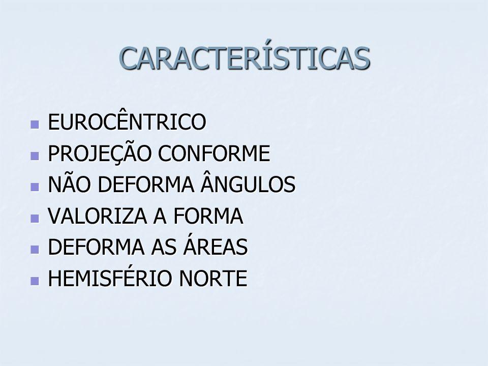 CARACTERÍSTICAS EUROCÊNTRICO EUROCÊNTRICO PROJEÇÃO CONFORME PROJEÇÃO CONFORME NÃO DEFORMA ÂNGULOS NÃO DEFORMA ÂNGULOS VALORIZA A FORMA VALORIZA A FORMA DEFORMA AS ÁREAS DEFORMA AS ÁREAS HEMISFÉRIO NORTE HEMISFÉRIO NORTE
