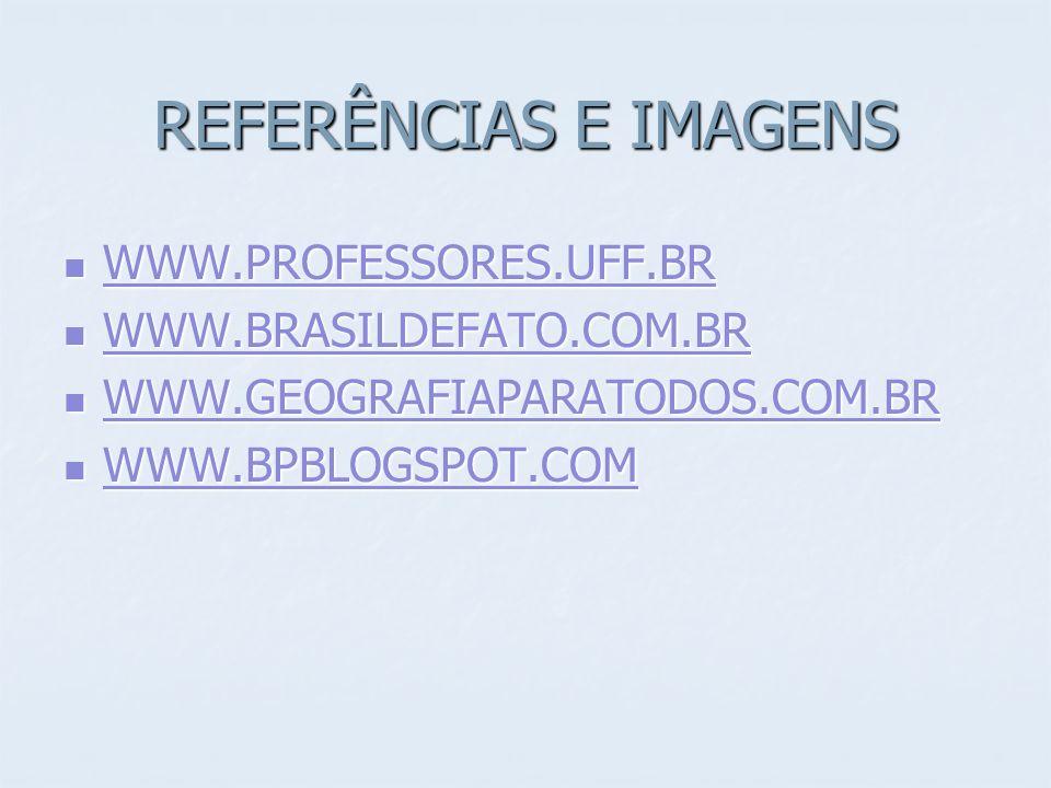 REFERÊNCIAS E IMAGENS WWW.PROFESSORES.UFF.BR WWW.PROFESSORES.UFF.BR WWW.PROFESSORES.UFF.BR WWW.BRASILDEFATO.COM.BR WWW.BRASILDEFATO.COM.BR WWW.BRASILDEFATO.COM.BR WWW.GEOGRAFIAPARATODOS.COM.BR WWW.GEOGRAFIAPARATODOS.COM.BR WWW.GEOGRAFIAPARATODOS.COM.BR WWW.BPBLOGSPOT.COM WWW.BPBLOGSPOT.COM WWW.BPBLOGSPOT.COM