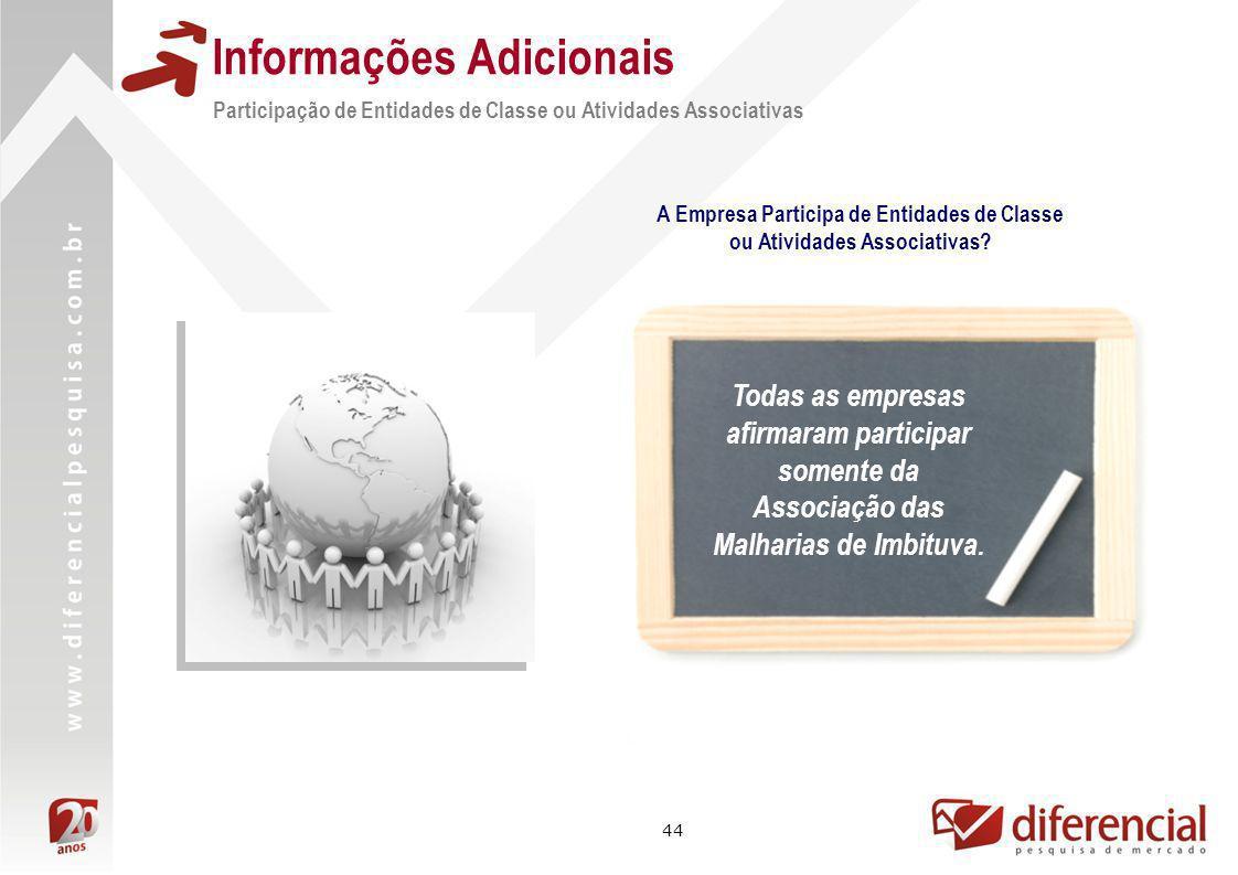 44 Informações Adicionais Participação de Entidades de Classe ou Atividades Associativas Todas as empresas afirmaram participar somente da Associação