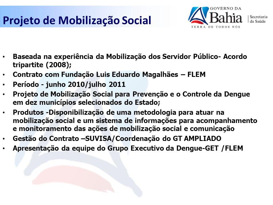 Projeto de Mobilização Social Baseada na experiência da Mobilização dos Servidor Público- Acordo tripartite (2008); Contrato com Fundação Luis Eduardo