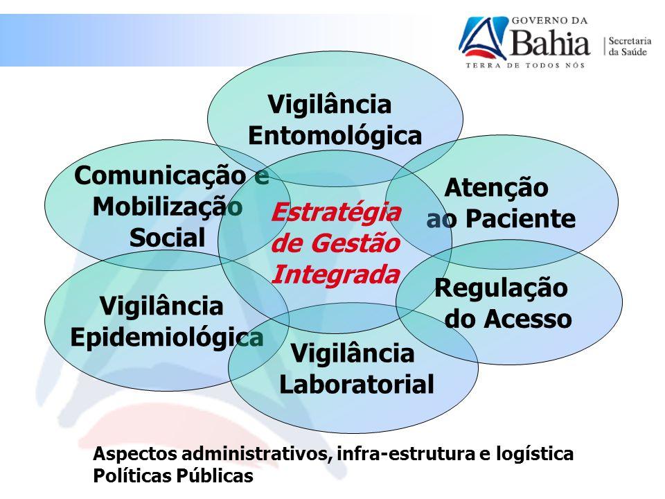 Comunicação e Mobilização Social Vigilância Epidemiológica Vigilância Entomológica Atenção ao Paciente Vigilância Laboratorial Estratégia de Gestão In