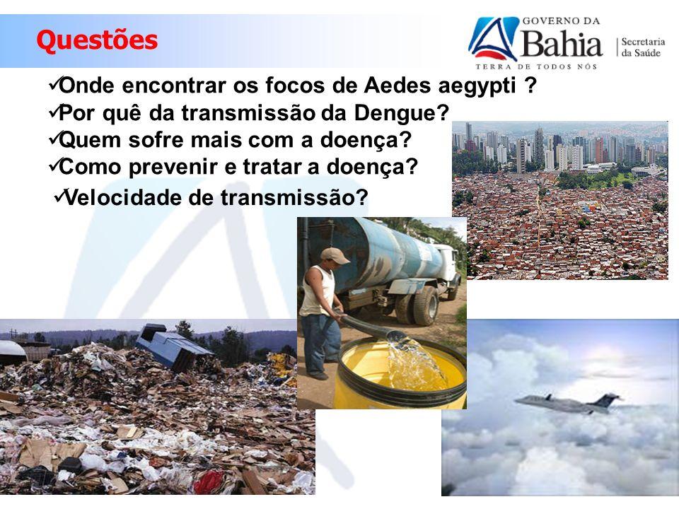 Onde encontrar os focos de Aedes aegypti ? Por quê da transmissão da Dengue? Quem sofre mais com a doença? Como prevenir e tratar a doença? Velocidade