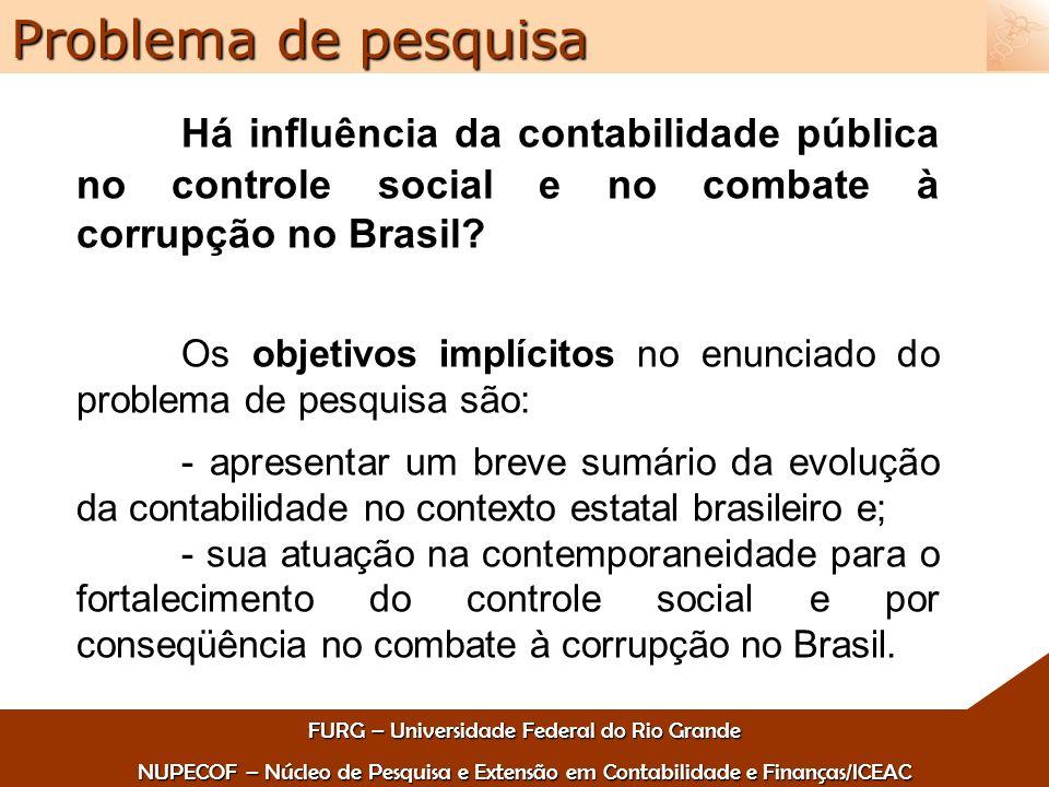 FURG – Universidade Federal do Rio Grande NUPECOF – Núcleo de Pesquisa e Extensão em Contabilidade e Finanças/ICEAC Problema de pesquisa Há influência da contabilidade pública no controle social e no combate à corrupção no Brasil.