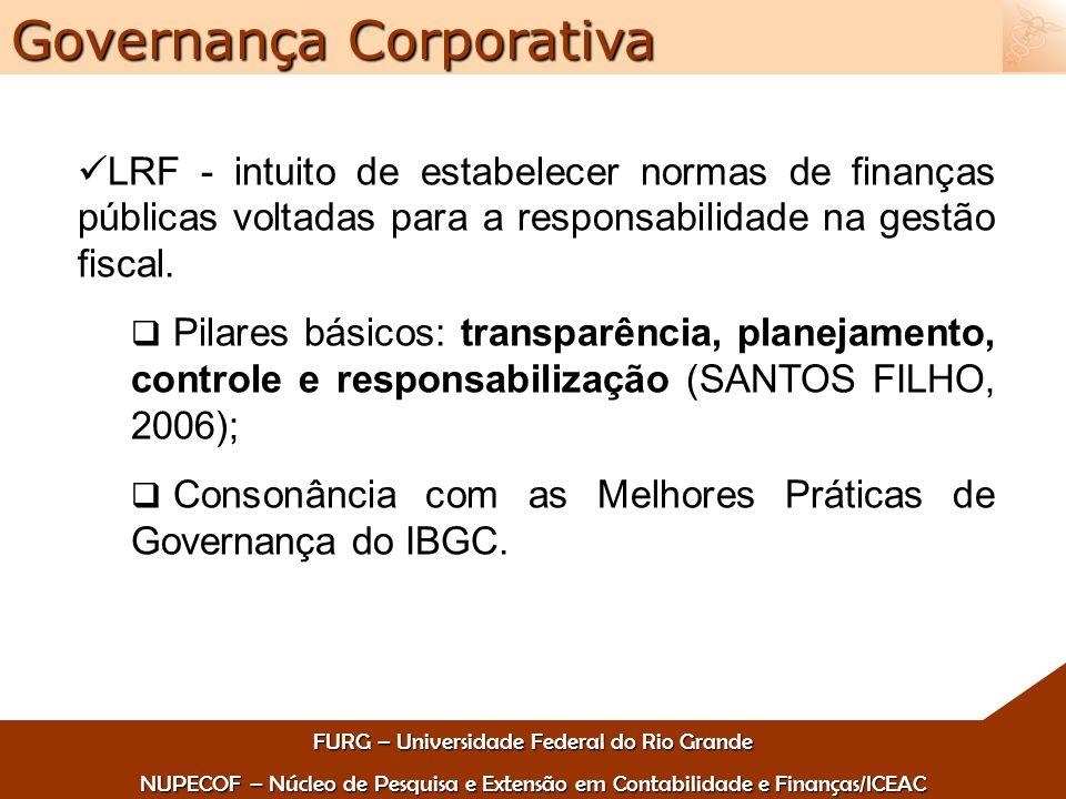 FURG – Universidade Federal do Rio Grande NUPECOF – Núcleo de Pesquisa e Extensão em Contabilidade e Finanças/ICEAC Governança Corporativa LRF - intuito de estabelecer normas de finanças públicas voltadas para a responsabilidade na gestão fiscal.