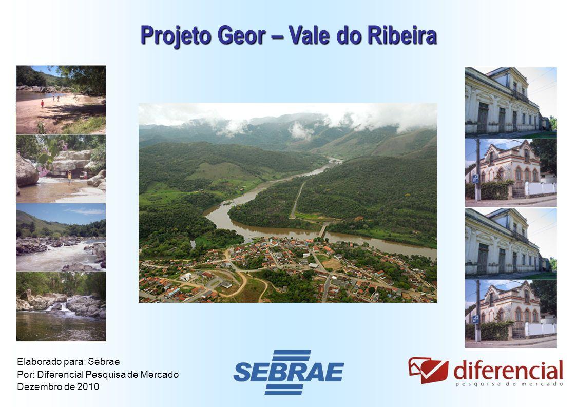 1 Projeto Geor – Vale do Ribeira Elaborado para: Sebrae Por: Diferencial Pesquisa de Mercado Dezembro de 2010