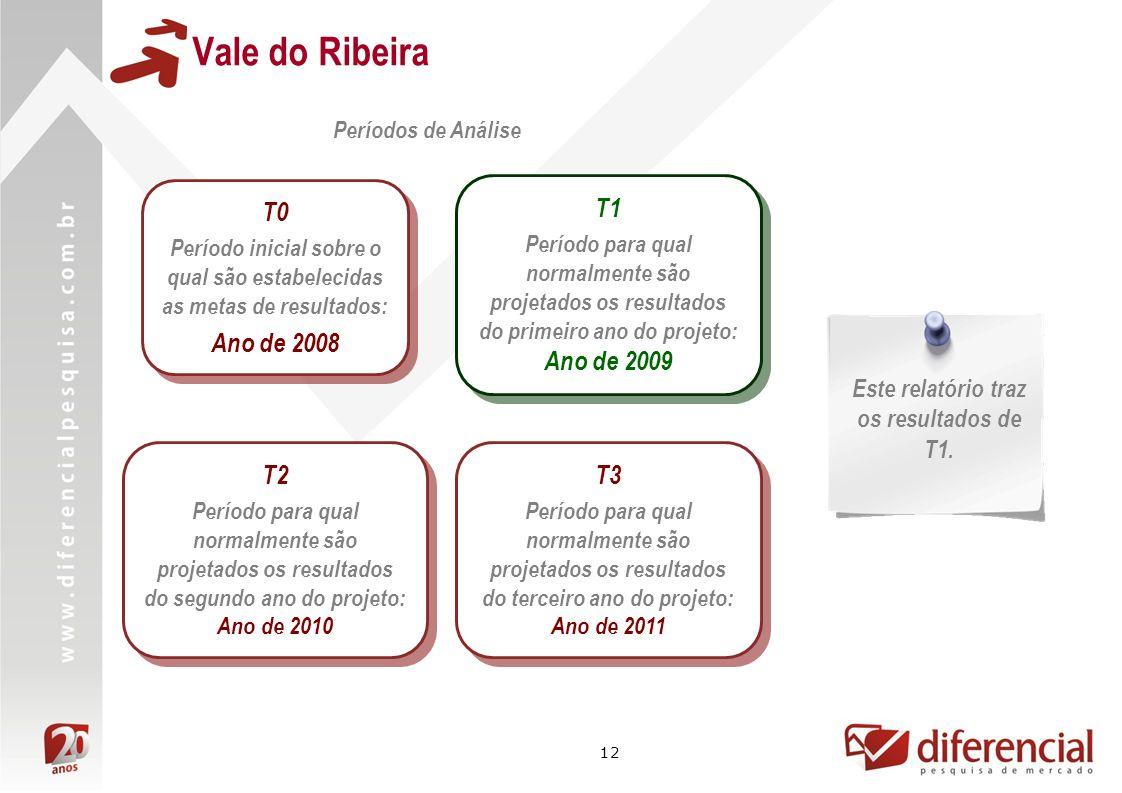 12 Períodos de Análise T1 Período para qual normalmente são projetados os resultados do primeiro ano do projeto: Ano de 2009 T1 Período para qual normalmente são projetados os resultados do primeiro ano do projeto: Ano de 2009 Este relatório traz os resultados de T1.