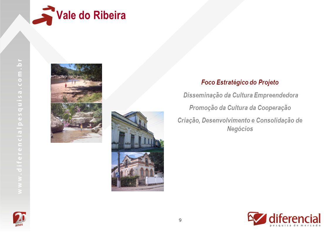 9 Foco Estratégico do Projeto Disseminação da Cultura Empreendedora Promoção da Cultura da Cooperação Criação, Desenvolvimento e Consolidação de Negócios Vale do Ribeira