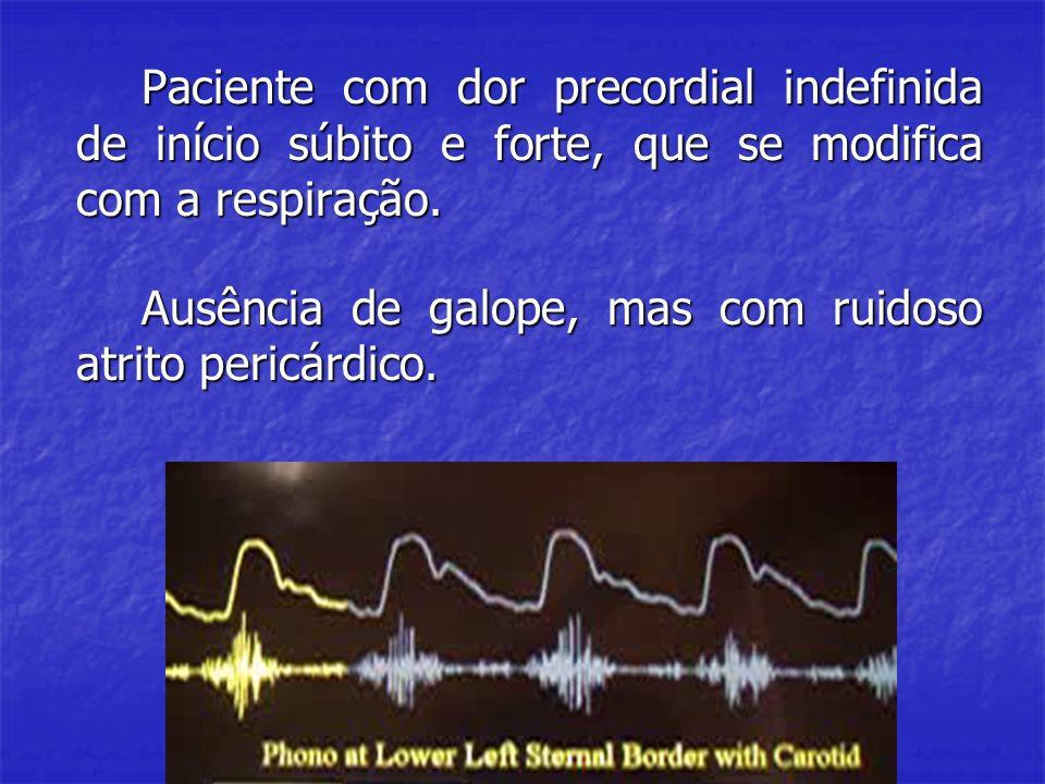 Paciente com dor precordial indefinida de início súbito e forte, que se modifica com a respiração.
