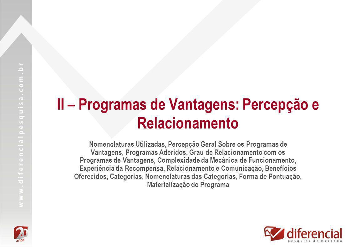 II – Programas de Vantagens: Percepção e Relacionamento Nomenclaturas Utilizadas, Percepção Geral Sobre os Programas de Vantagens, Programas Aderidos,