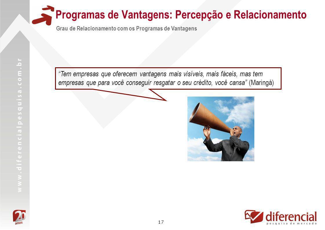 17 Grau de Relacionamento com os Programas de Vantagens Tem empresas que oferecem vantagens mais visíveis, mais fáceis, mas tem empresas que para você