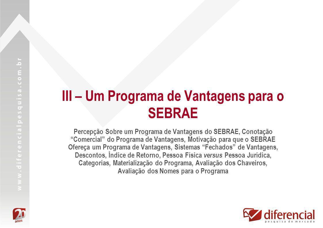 III – Um Programa de Vantagens para o SEBRAE Percepção Sobre um Programa de Vantagens do SEBRAE, Conotação Comercial do Programa de Vantagens, Motivaç