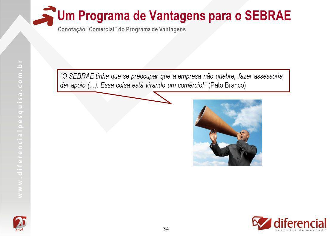 34 Um Programa de Vantagens para o SEBRAE O SEBRAE tinha que se preocupar que a empresa não quebre, fazer assessoria, dar apoio (...). Essa coisa está