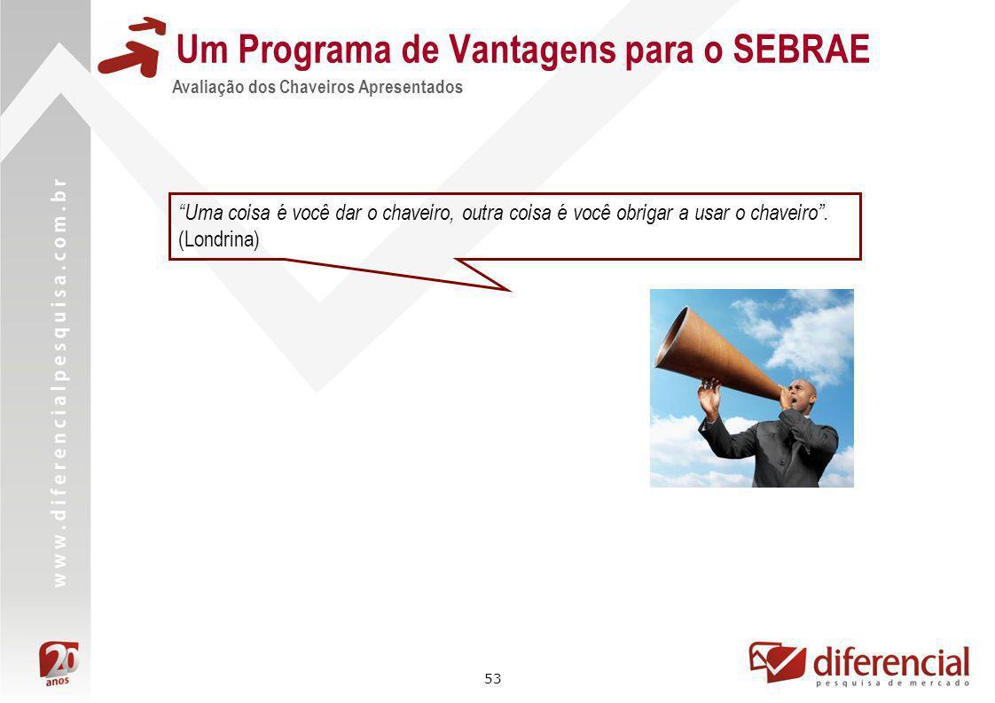 53 Um Programa de Vantagens para o SEBRAE Avaliação dos Chaveiros Apresentados Uma coisa é você dar o chaveiro, outra coisa é você obrigar a usar o ch