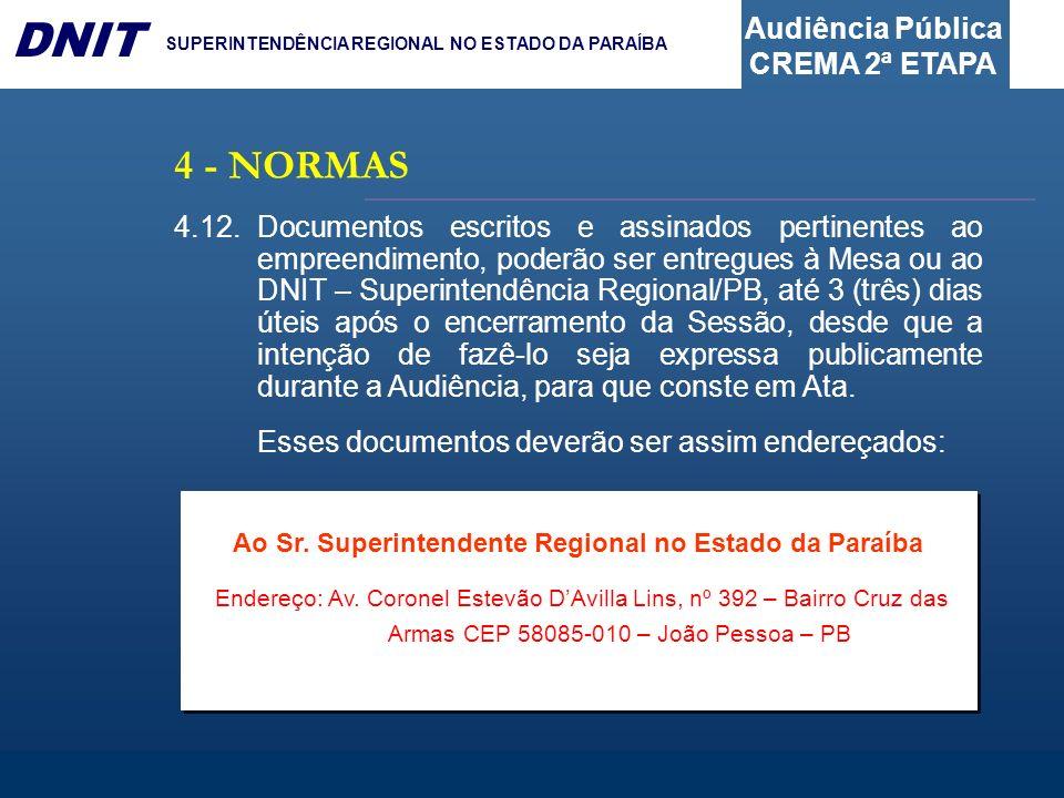 Audiência Pública CREMA 2ª ETAPA DNIT SUPERINTENDÊNCIA REGIONAL NO ESTADO DA PARAÍBA 4.12.Documentos escritos e assinados pertinentes ao empreendiment