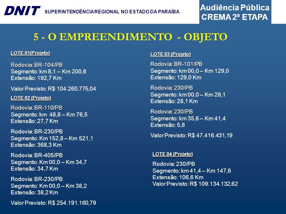 Audiência Pública CREMA 2ª ETAPA DNIT SUPERINTENDÊNCIA REGIONAL NO ESTADO DA PARAÍBA 5 - O EMPREENDIMENTO - OBJETO LOTE 01(Projeto) Rodovia: BR-104/PB