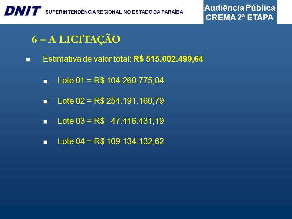 Audiência Pública CREMA 2ª ETAPA DNIT SUPERINTENDÊNCIA REGIONAL NO ESTADO DA PARAÍBA 6 – A LICITAÇÃO Estimativa de valor total: R$ 515.002.499,64 Lote