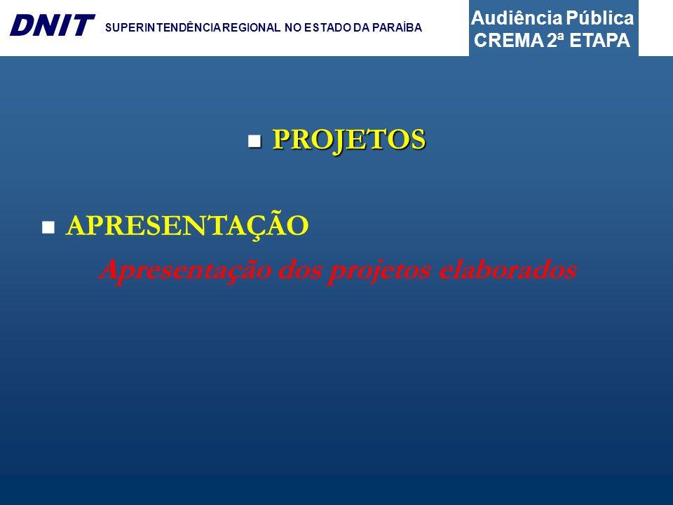 Audiência Pública CREMA 2ª ETAPA DNIT SUPERINTENDÊNCIA REGIONAL NO ESTADO DA PARAÍBA PROJETOS PROJETOS APRESENTAÇÃO Apresentação dos projetos elaborad