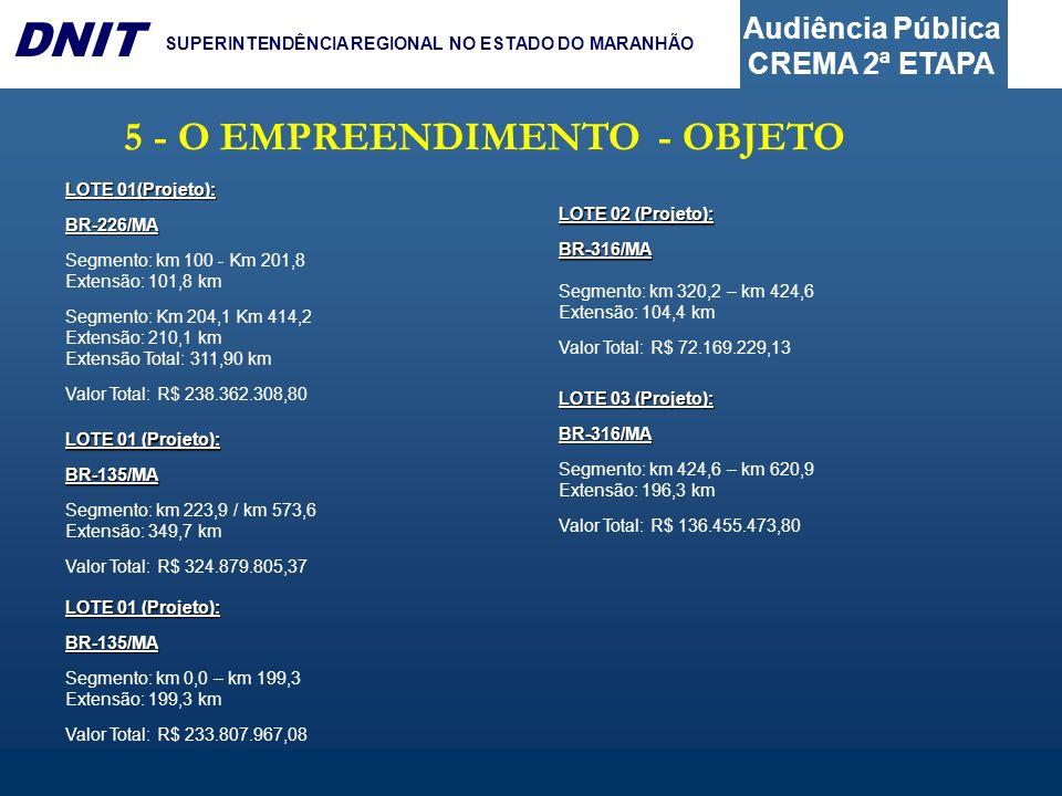 Audiência Pública CREMA 2ª ETAPA DNIT SUPERINTENDÊNCIA REGIONAL NO ESTADO DO MARANHÃO 5 - O EMPREENDIMENTO - OBJETO LOTE 01(Projeto): BR-226/MA Segmen