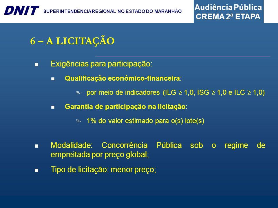 Audiência Pública CREMA 2ª ETAPA DNIT SUPERINTENDÊNCIA REGIONAL NO ESTADO DO MARANHÃO 6 – A LICITAÇÃO Exigências para participação: Qualificação econômico-financeira: por meio de indicadores (ILG 1,0, ISG 1,0 e ILC 1,0) Garantia de participação na licitação: 1% do valor estimado para o(s) lote(s) Modalidade: Concorrência Pública sob o regime de empreitada por preço global; Tipo de licitação: menor preço;