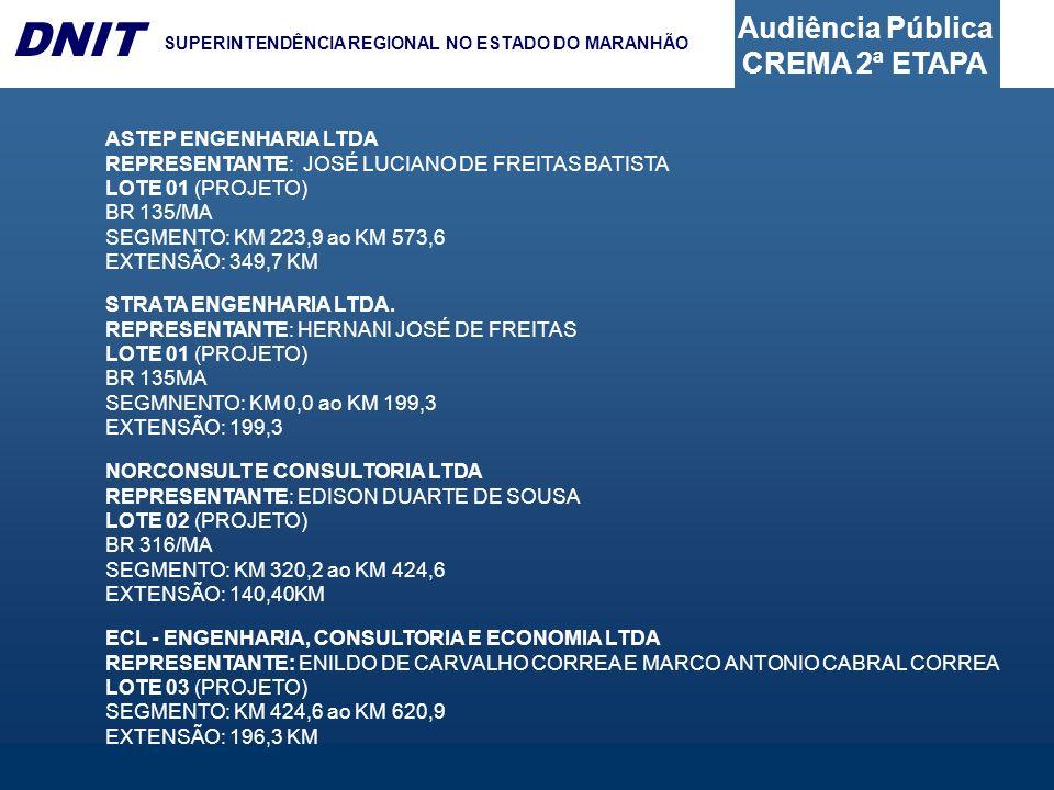 Audiência Pública CREMA 2ª ETAPA DNIT SUPERINTENDÊNCIA REGIONAL NO ESTADO DO MARANHÃO ASTEP ENGENHARIA LTDA REPRESENTANTE: JOSÉ LUCIANO DE FREITAS BATISTA LOTE 01 (PROJETO) BR 135/MA SEGMENTO: KM 223,9 ao KM 573,6 EXTENSÃO: 349,7 KM STRATA ENGENHARIA LTDA.